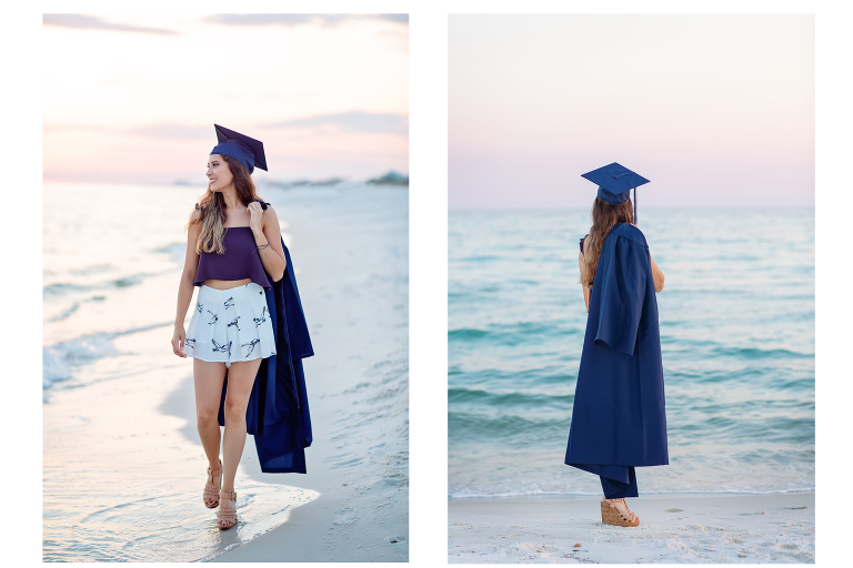 Senior photos in cap and gown