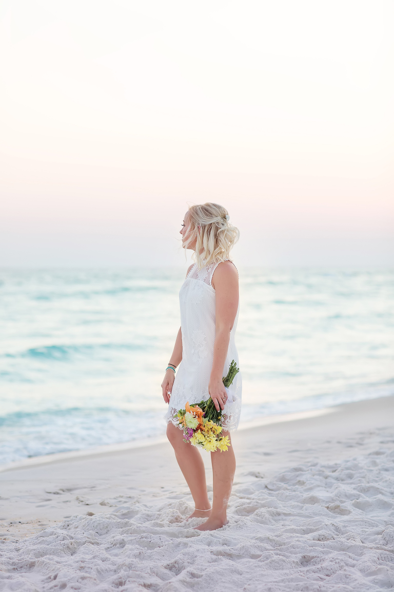 Bridal Portraits during sunset wedding on a beach
